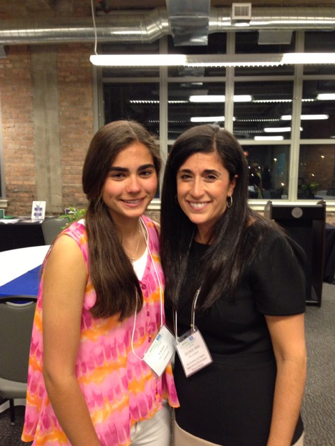 Georgy Ann Peluchiwski, with daughter Leah, at a Latin School Awards Dinner.