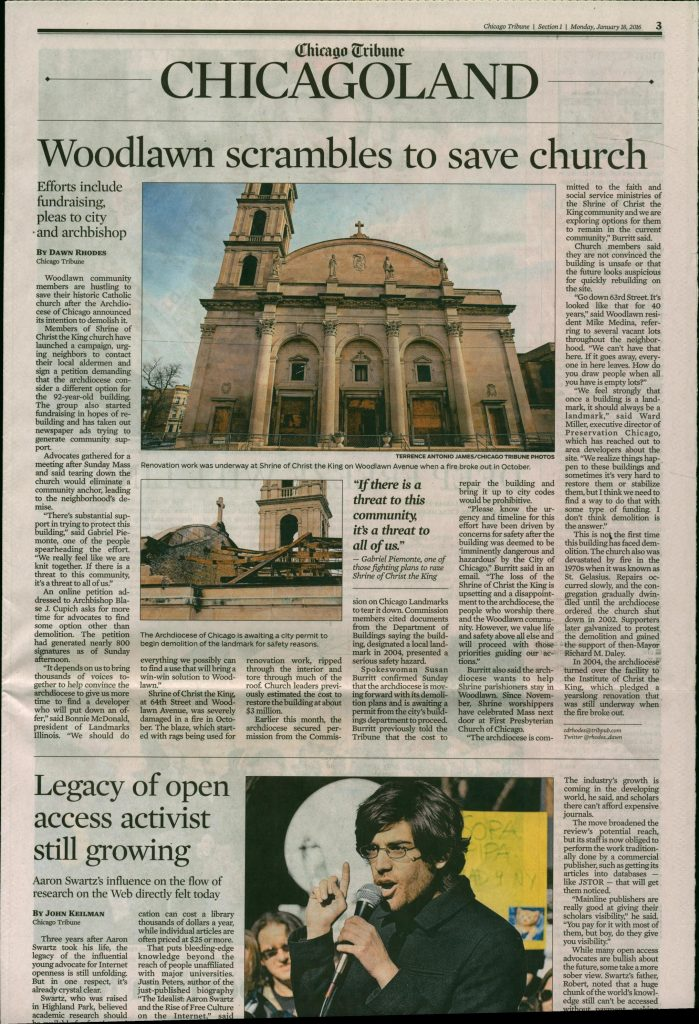 Save the Shrine as theTribune's lead Chicagoland story on Monday, January 18th.