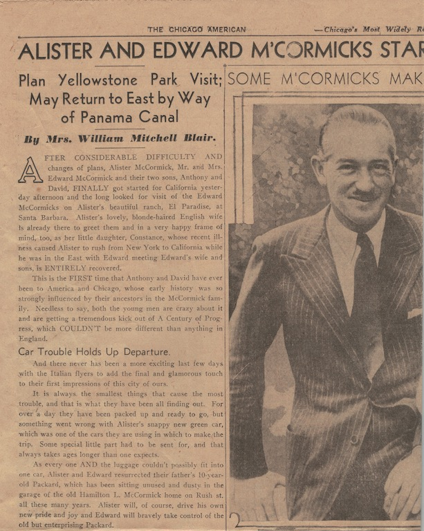 A piece of the article from 1933, accounting the McCormicks' car troubles en route to California.