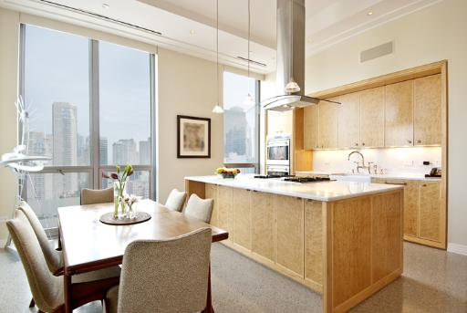 A contemporary high-rise kitchen.