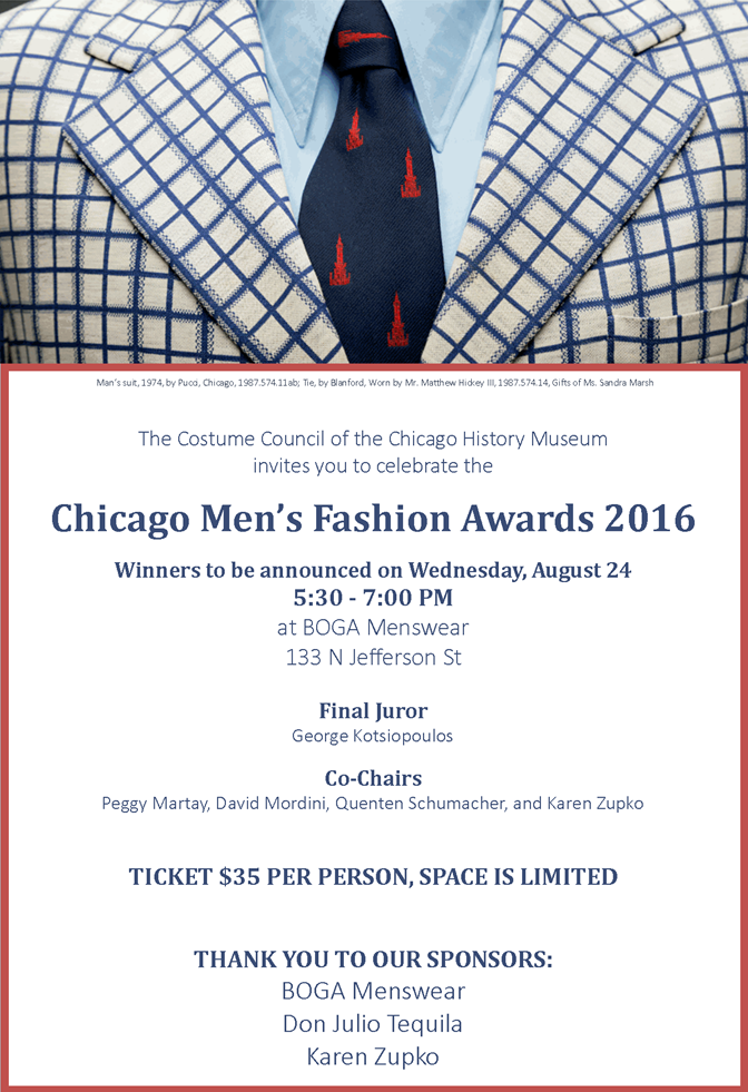 The invitation to the first Chicago Men's Fashion Awards.