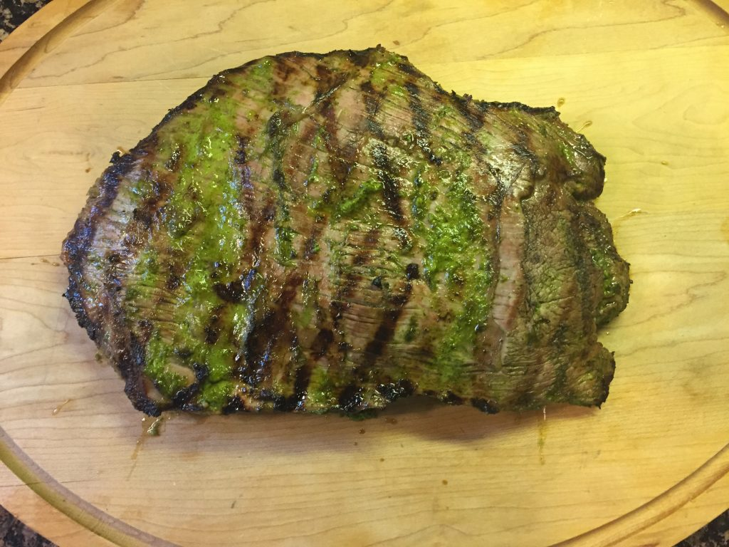 Allow the flank stank to rest after grilling.