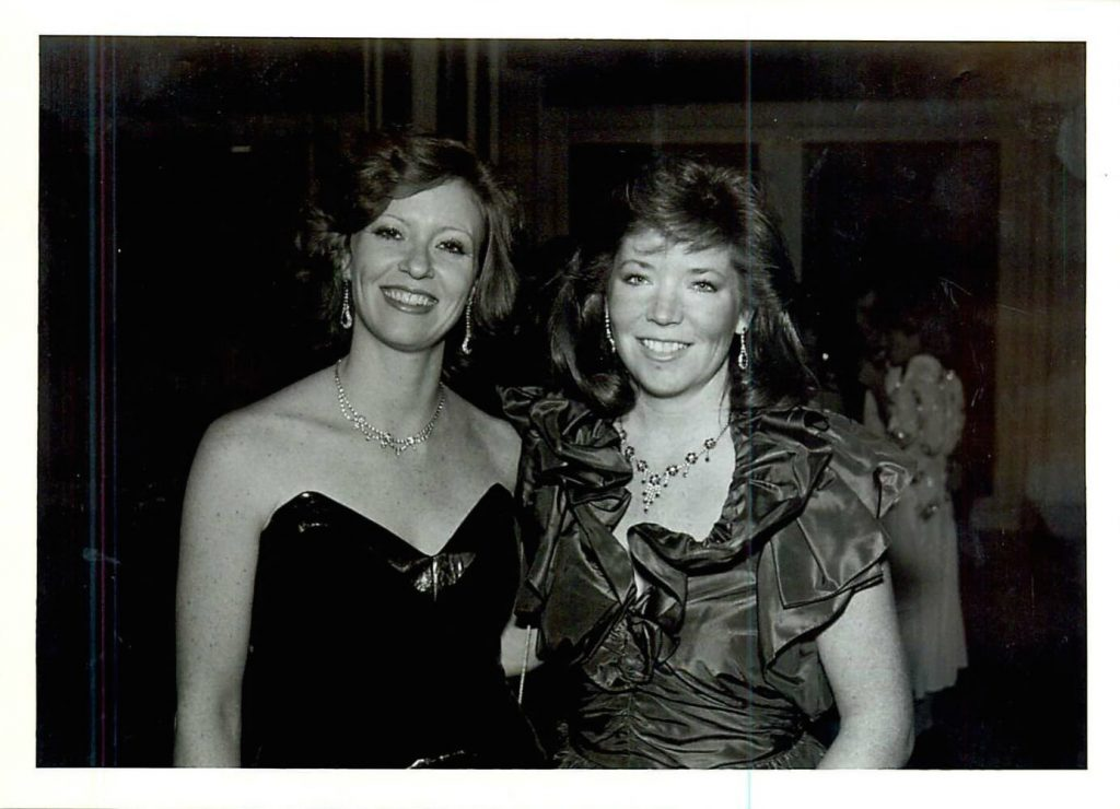 Liz Sharp and Liz McGarry in the early days of Soiree.