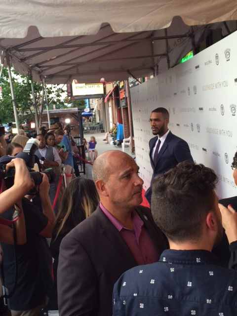 Actor Parker Sawyers, who plays Barack Obama in the film, walking the Southside with You red carpet