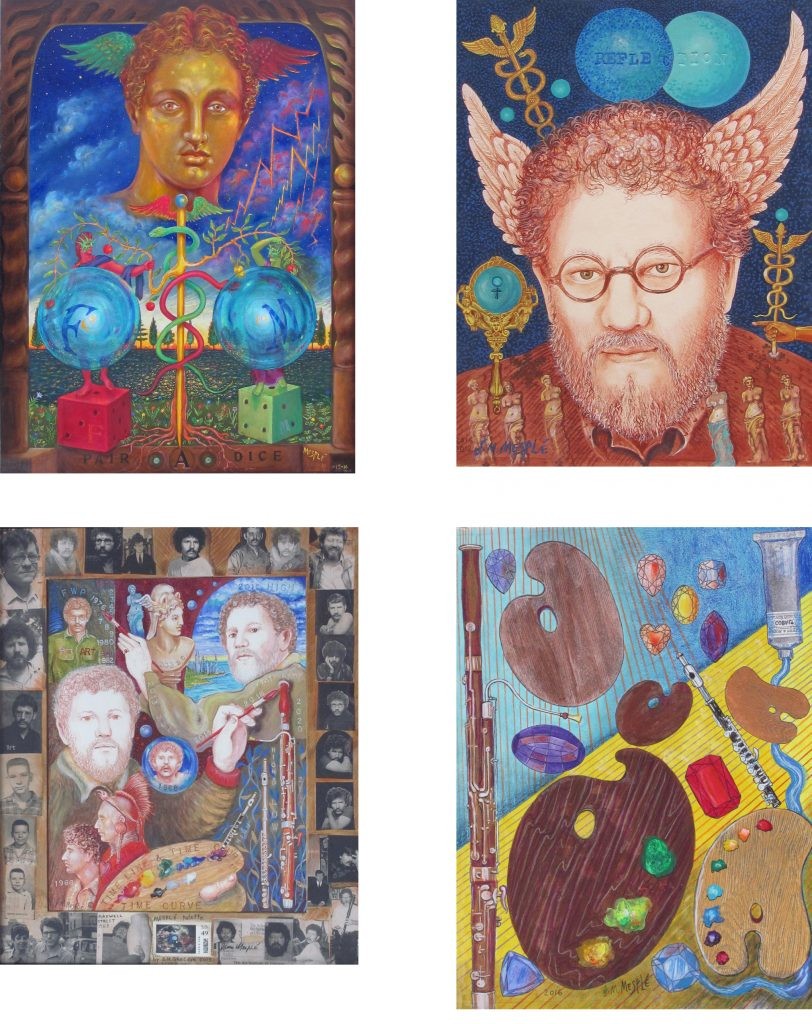 """""""Gem Myths"""" addendum, featuring The Tempest, Self-Portrait as Hermes, Self-Portrait--Time Line, and Gems, Palettes, and Paint (2015-16)."""