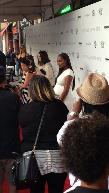 Tika Sumpter, starring as Michelle Obama in the film, outside the screening.