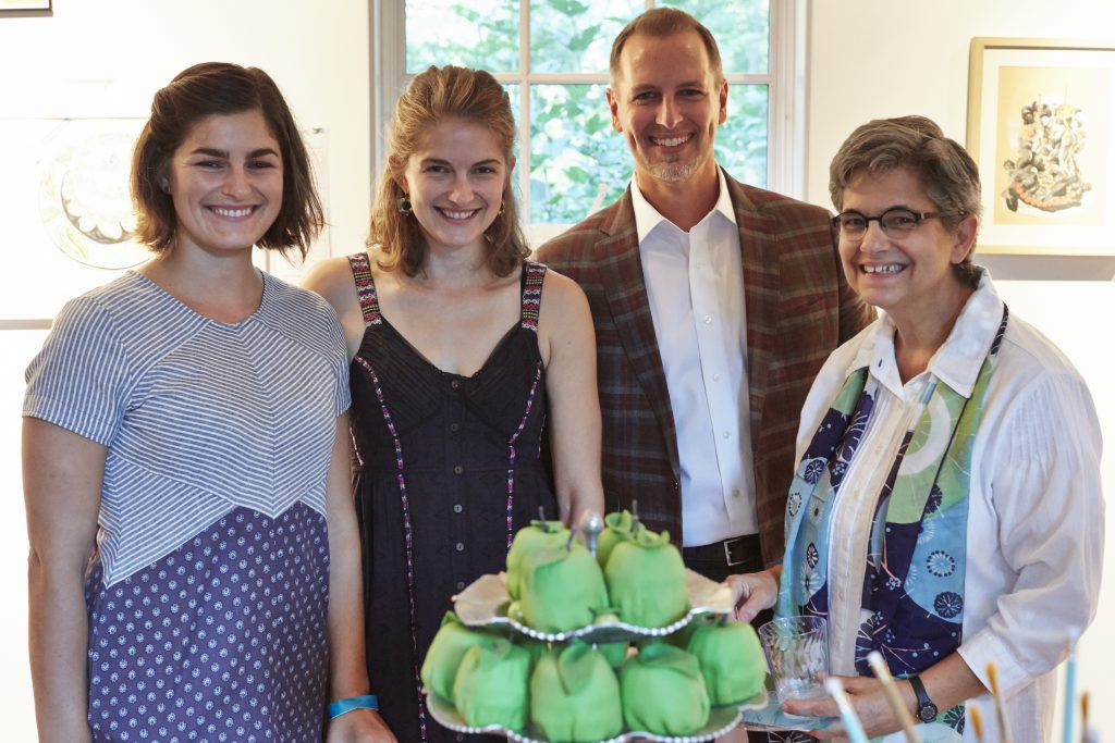 Sylvia and Hazel Ryerson, Jeff Meeuwsen, and Alice Turkel with one of the 40 cakes for Ragdale's 40th.
