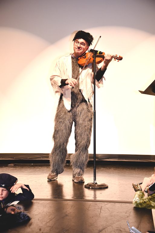 Baird Dodge, second principal violinist at the CSO, as the Fiddlin' Werewolf.