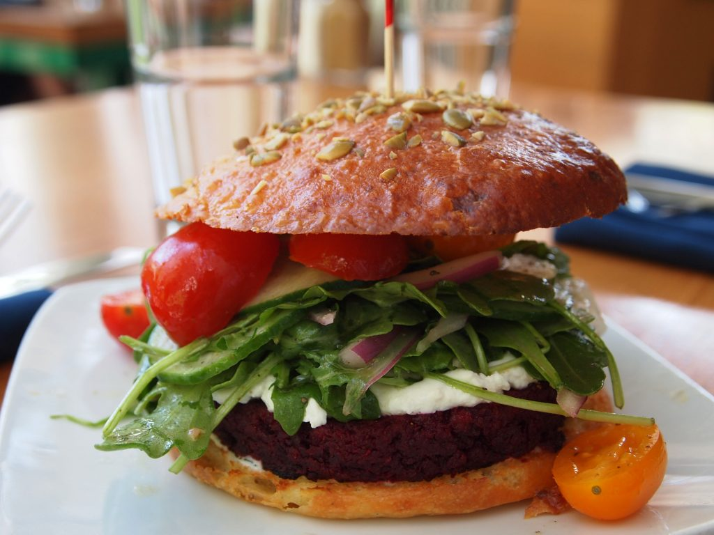 The locally flavored and sourced Beer and Walnut Burger at Graze. Photo by Samantha Egelhoff.