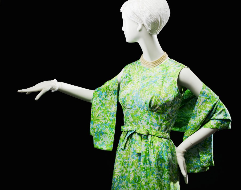 Green floral dress with stole; dress with matching stole, spring 1965. Gift of Mrs. Dorothy H. Rautbord; 1980.88.6.
