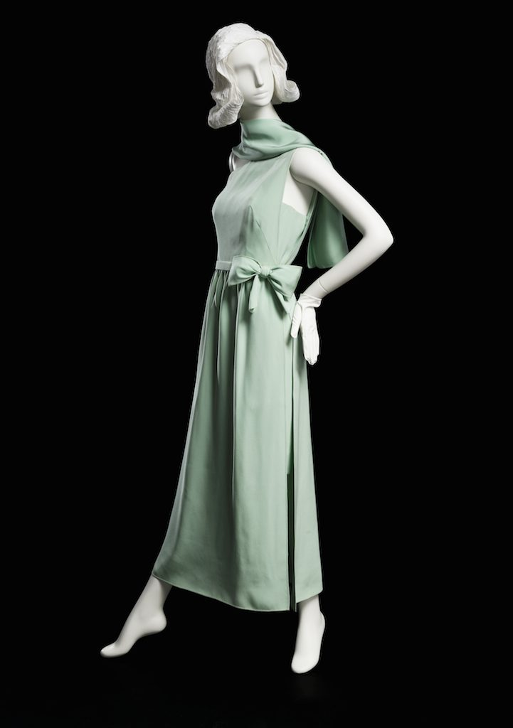 Mint dress; evening dress with matching stole, spring 1966. Gift of Mrs. Dorothy H. Rautbord; 1980.88.7.