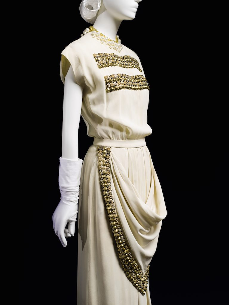 "Off-white with ""apron"" in front; evening dress, spring 1947. Gift of Peggy Stanley; 1979.91.1."