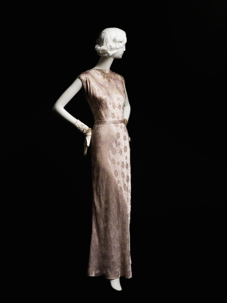 Pink and gold brocade dress; evening dress, fall 1944. Gift of Mrs. A. Watson Armour, III; 1959.348.