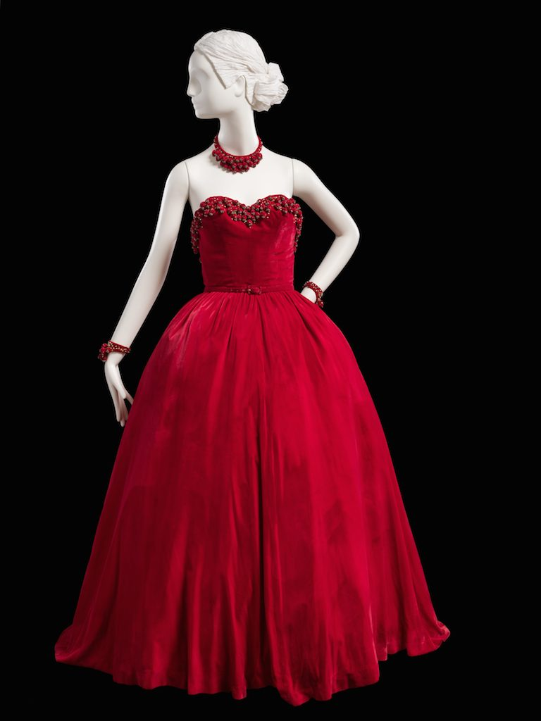 Red velvet dress; ball gown with accessories, fall 1947. Gift of Mrs. A. Watson Armour, III; 1959.345a-d.