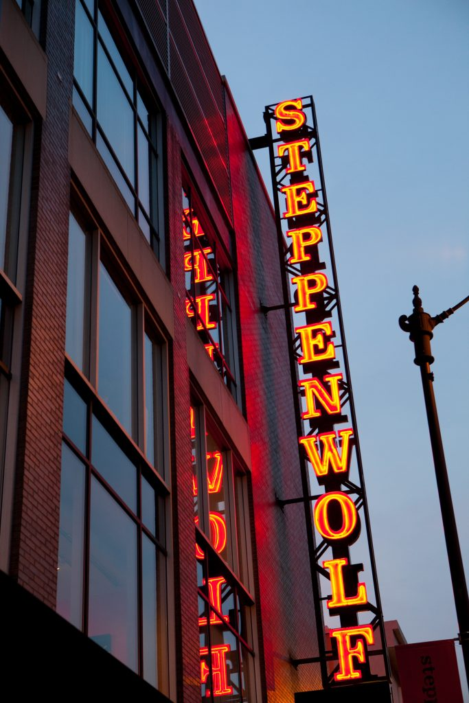 Steppenwolf marquee. Photo courtesy of Steppenwolf Theatre Company.