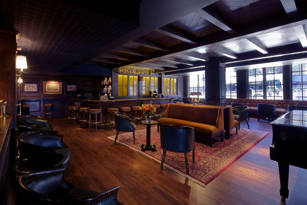 Deep, warm tones in the bar and lounge area of the Tortoise Club.
