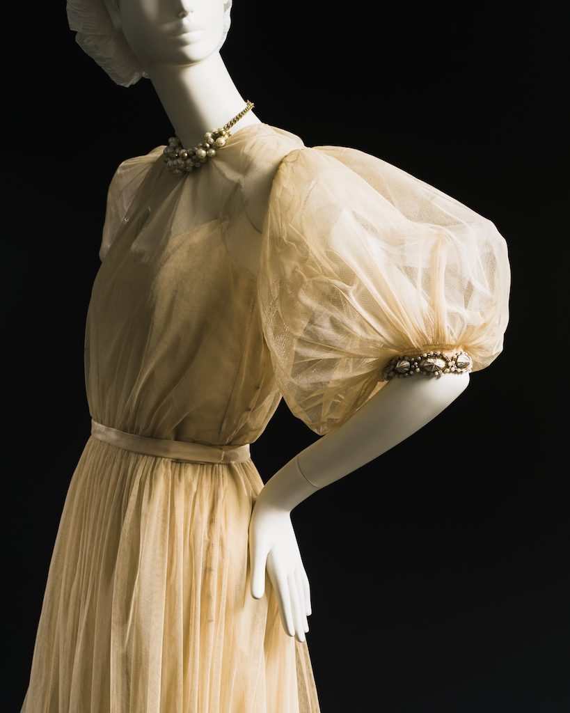 Tulle with shell trim; evening dress, fall 1946. Gift of Mrs. Clive Runnells; 1967.217.