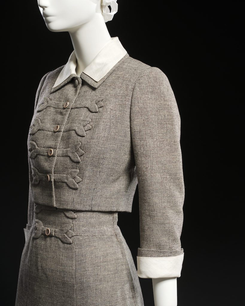 Tweed skirt suit; skirt suit, spring 1954. Gift of Peggy Stanley, CC1971.144ab.