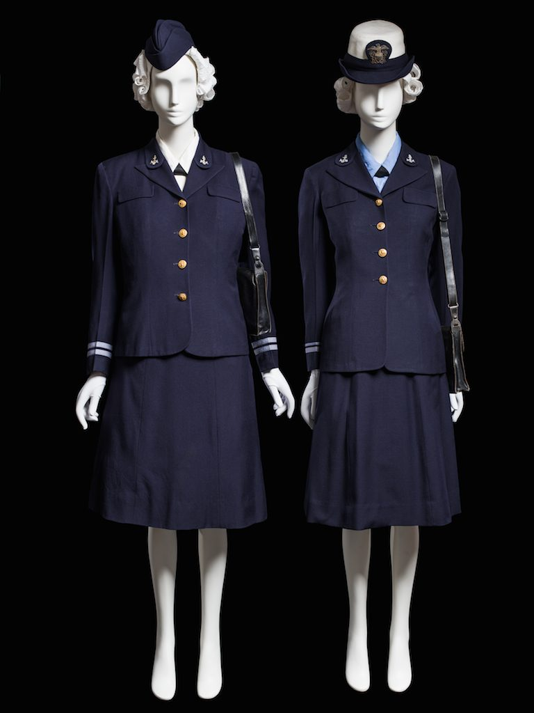 Two navy uniforms; WAVES uniform, United States Naval Reserve, c. 1942. Gift of Mrs. Murray Richards; 1951.388; Gift of Mrs. Margaret Heing Abramson; 1987.67.