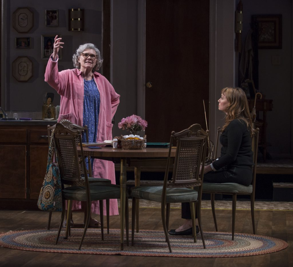 Debra Monk and ensemble member Sally Murphy in Steppenwolf's world premiere production of Visiting Edna by David Rabe.