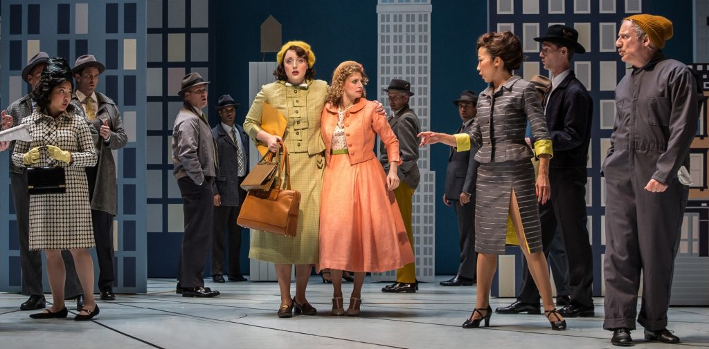 Actresses Bri Sudia and Lauren Molina in Wonderful Town, a musical by Leonard Bernstein. Photo courtesy of the Goodman.