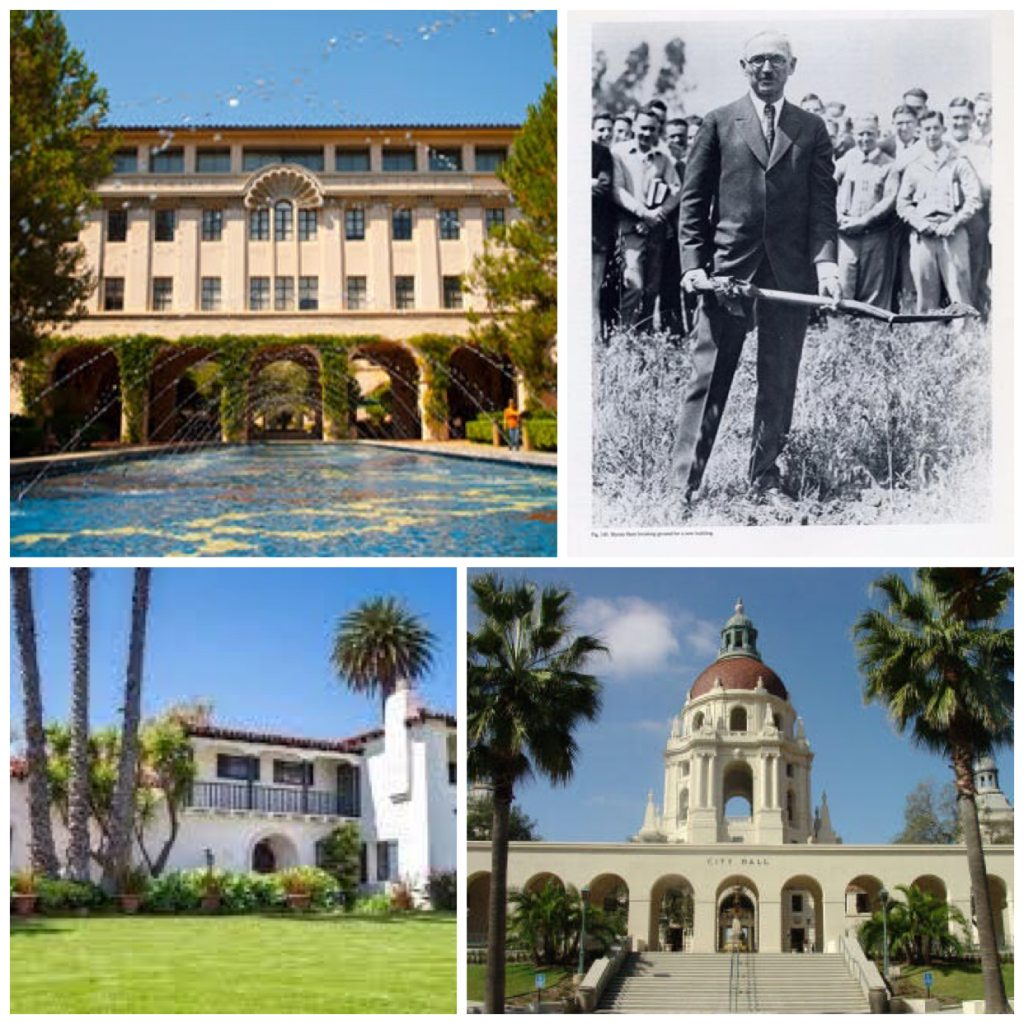 Clockwise from top left: Caltech, Mr. Myron Hunt, Pasadena City Hall, and a Hunt home.