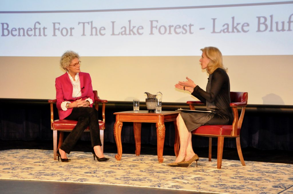 The former anchorwoman and Lake Forest Shop owner together on stage in conversation.