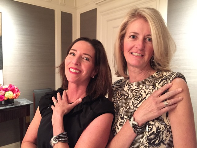 Kim Moore and Diane Thomas model their Verdura.
