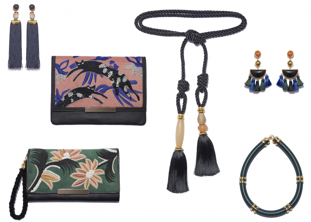 Clockwise from top left: Indigo Tassel Earrings, Black Rope Tassel Belt, Fiesta Earrings, Double Take Necklace in Dark Green, Opera Clutch in Lily, and the Port of Call in Jumping Jaguars.