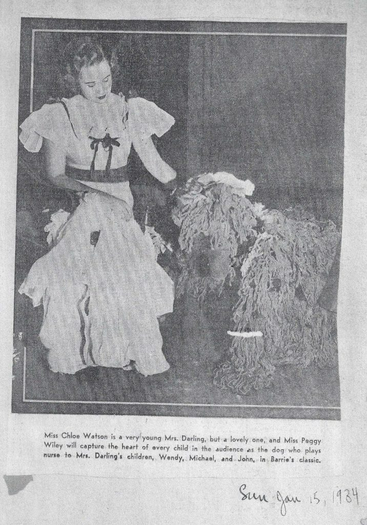 A clipping from 1934, showing Peggy Wiley Carr as Nana.