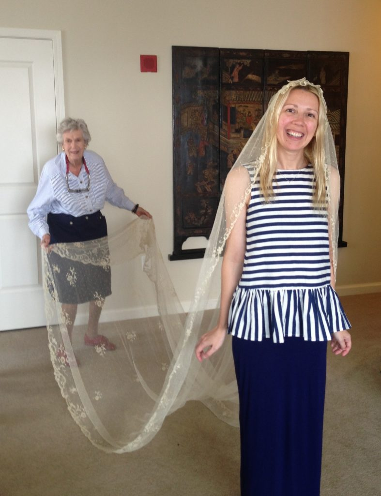 Alice York tries on Peggy's veil before her October 2016 wedding to Aaron House.