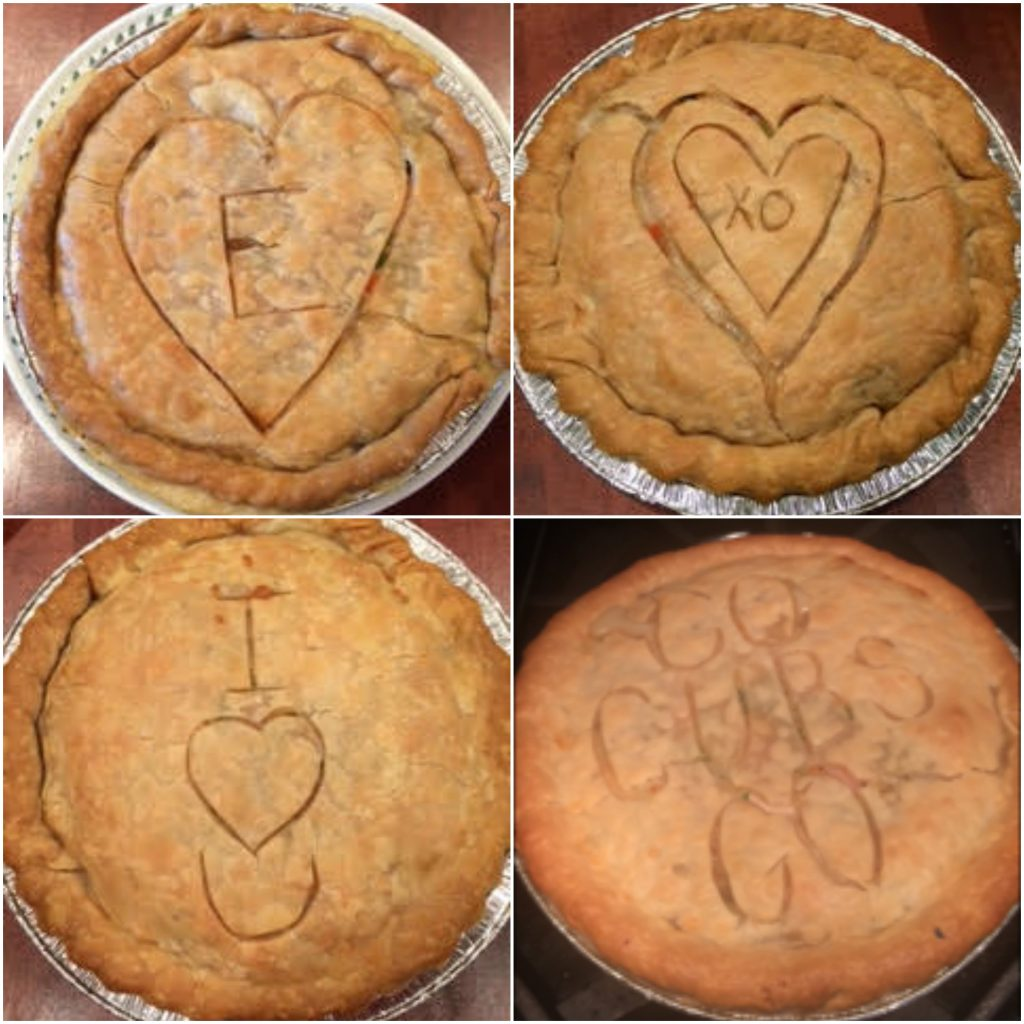 An assortment of Claire's personalized pot pies.