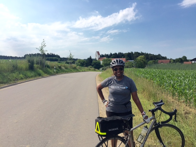 Caroline with her bike on a recent Danube River Cruise adventure trip.