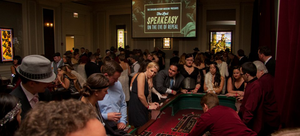 Guests try their luck at free novelty gaming tables.