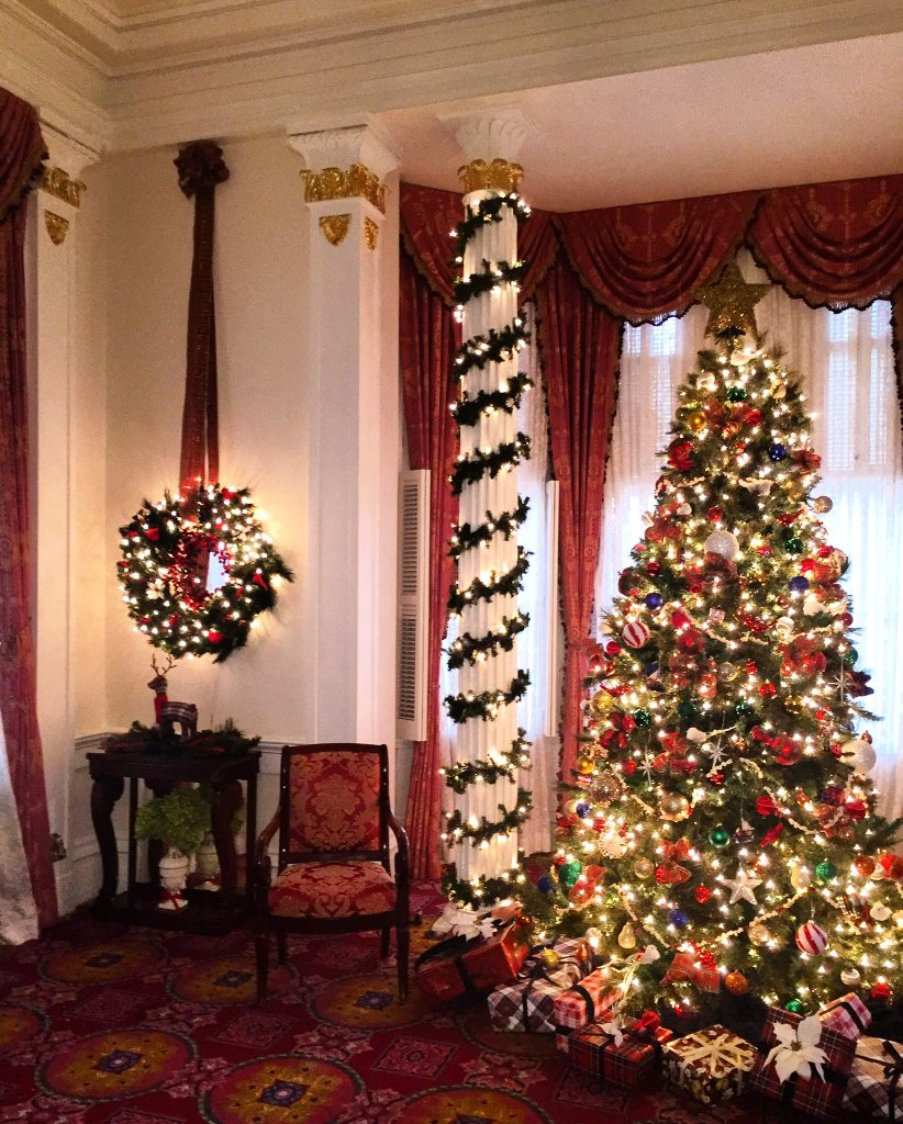Lights dazzle on wreaths, garlands, and, of course, the tree.