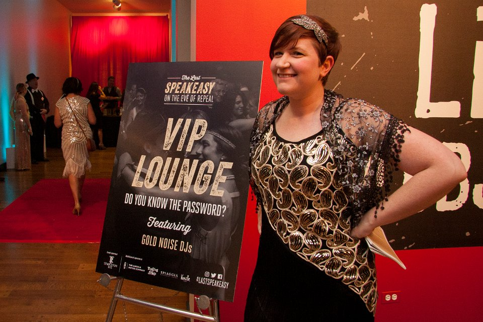 Meg Reilly welcomes guests to the VIP Lounge.
