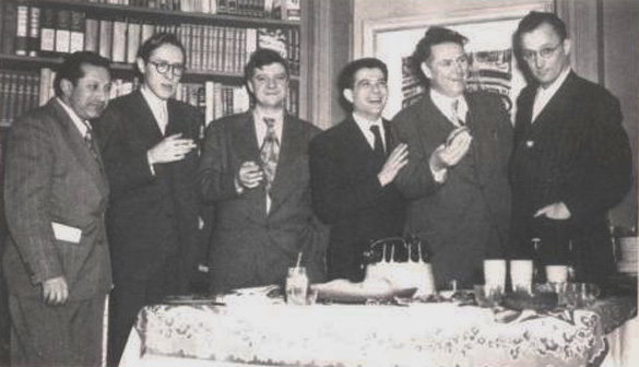 Stuart Brent, third from right, with Nelson Algren at right. Photo courtesy of the American Writers Museum.