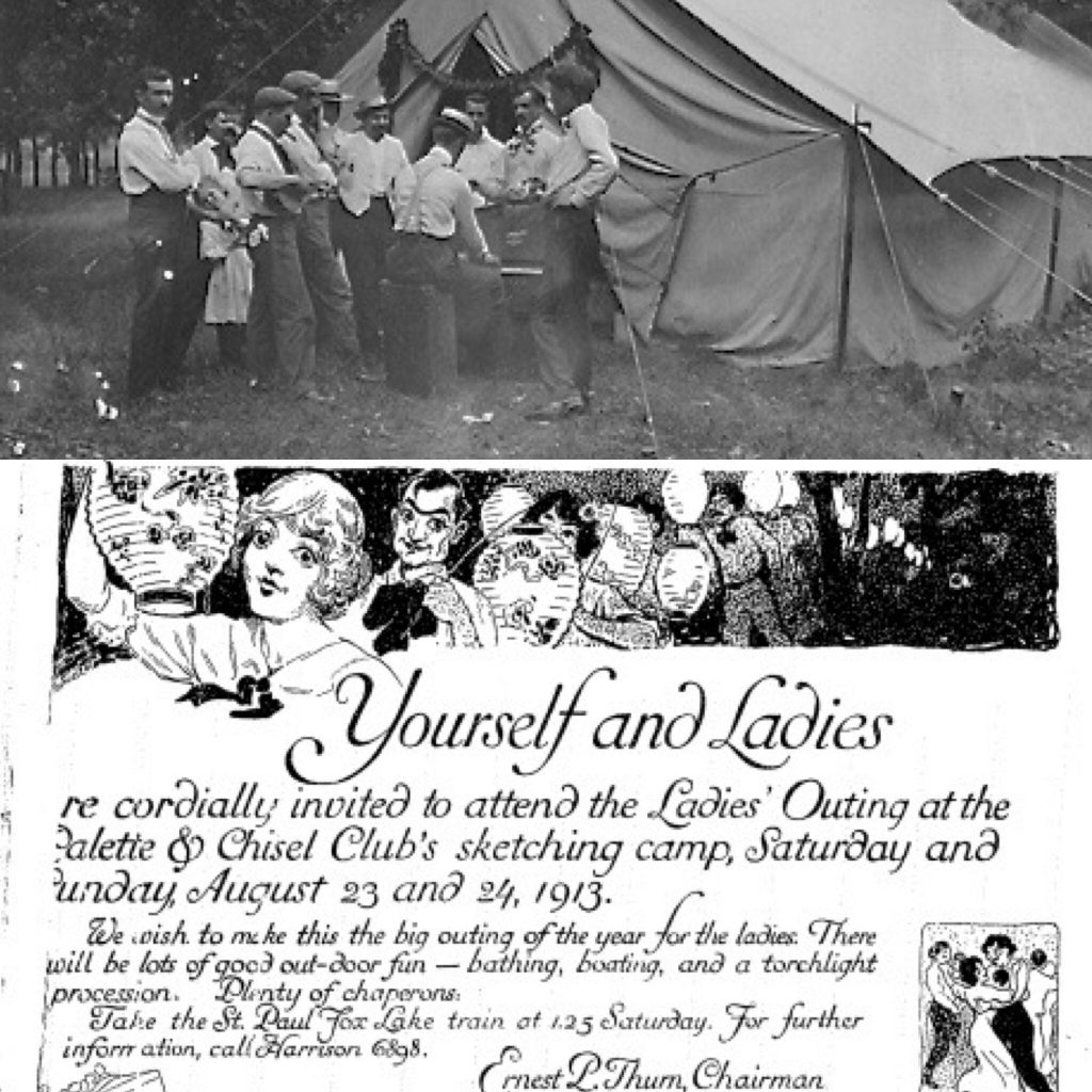 Top: Members at Fox Lake. Bottom: An invitation dating from 1913.