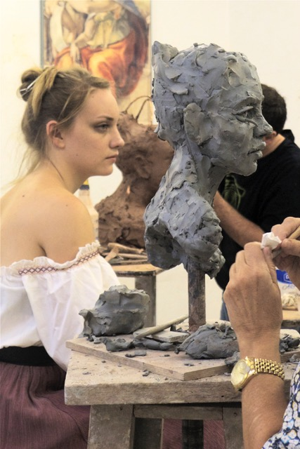 In the sculpture studio. Photo by Dell Hall.
