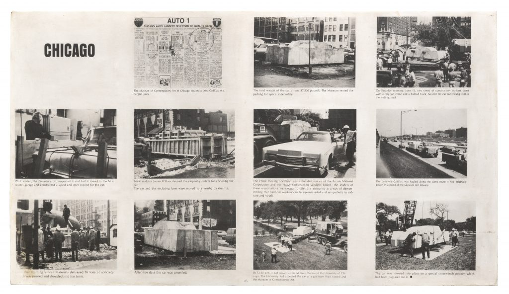 Offset print on chipboard of a page spread from Artforum (September 1970). Smart Museum of Art, The University of Chicago, The Paul and Miriam Kirkley Fund for Acquisitions and The James M. Wells Curatorial Discretion Acquisition Fund, 2016.18. Art © The Wolf Vostell Estate.