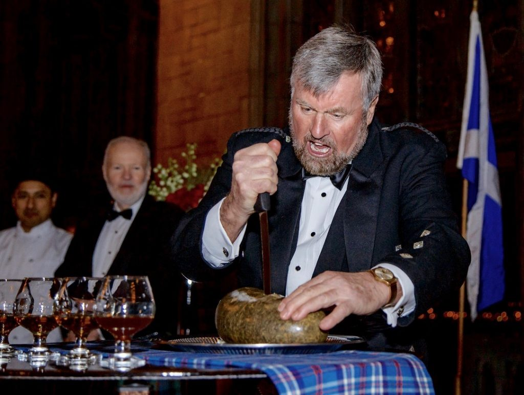 Jack Crombie engages the Haggis with gusto.