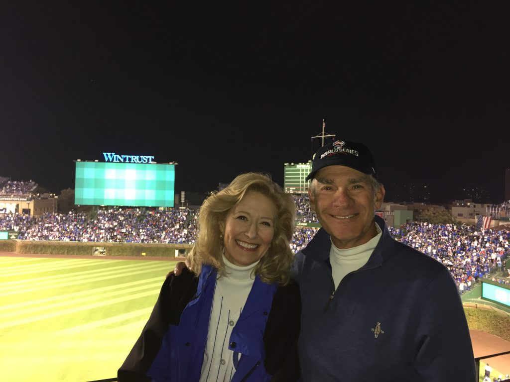 Mary Ann and husband, Jay Levine, at a Cubs game in 2016.