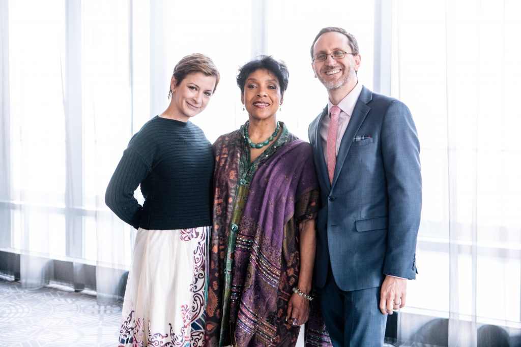 Steppenwolf Artistic Director, Anna D. Shapiro; 2017 Honoree, Phylicia Rashad; and Steppenwolf Executive Director, David Schmitz. Photo by Kyle Flubacker.