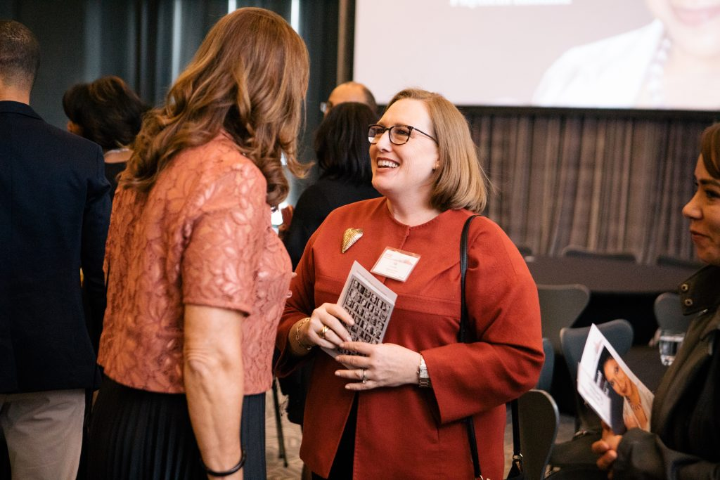 Steppenwolf Trustee and 2017 Host Committee member Elizabeth H. Connelly in conversation with 2017 Host Committee member Noreen Gallagher. Photo by Kyle Flubacker.