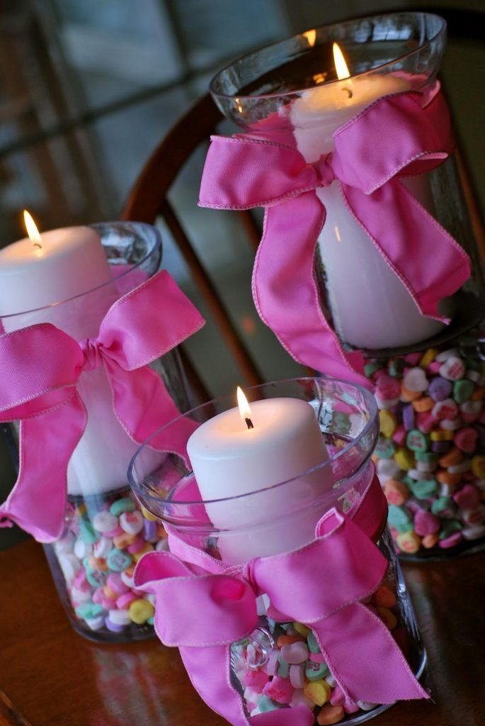 A display using candy hearts as a center piece. Picture taken from Pinterest.